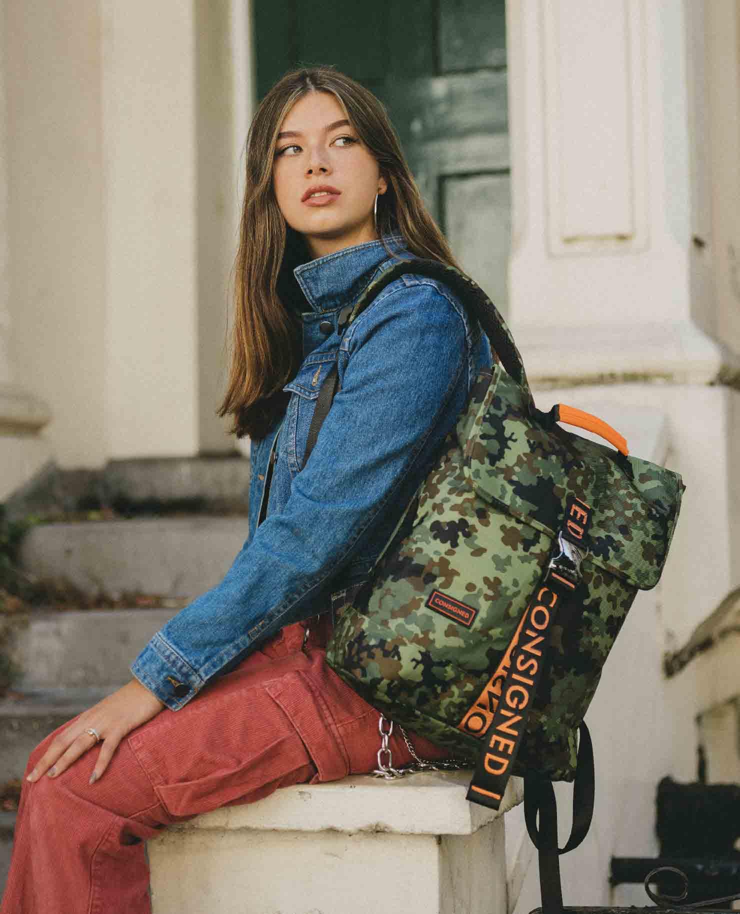Ceara Maya Modeling The Helt Zane Backpack In Camo